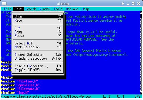 Tilde 0.2.0 发布,控制台/终端的文本编辑器