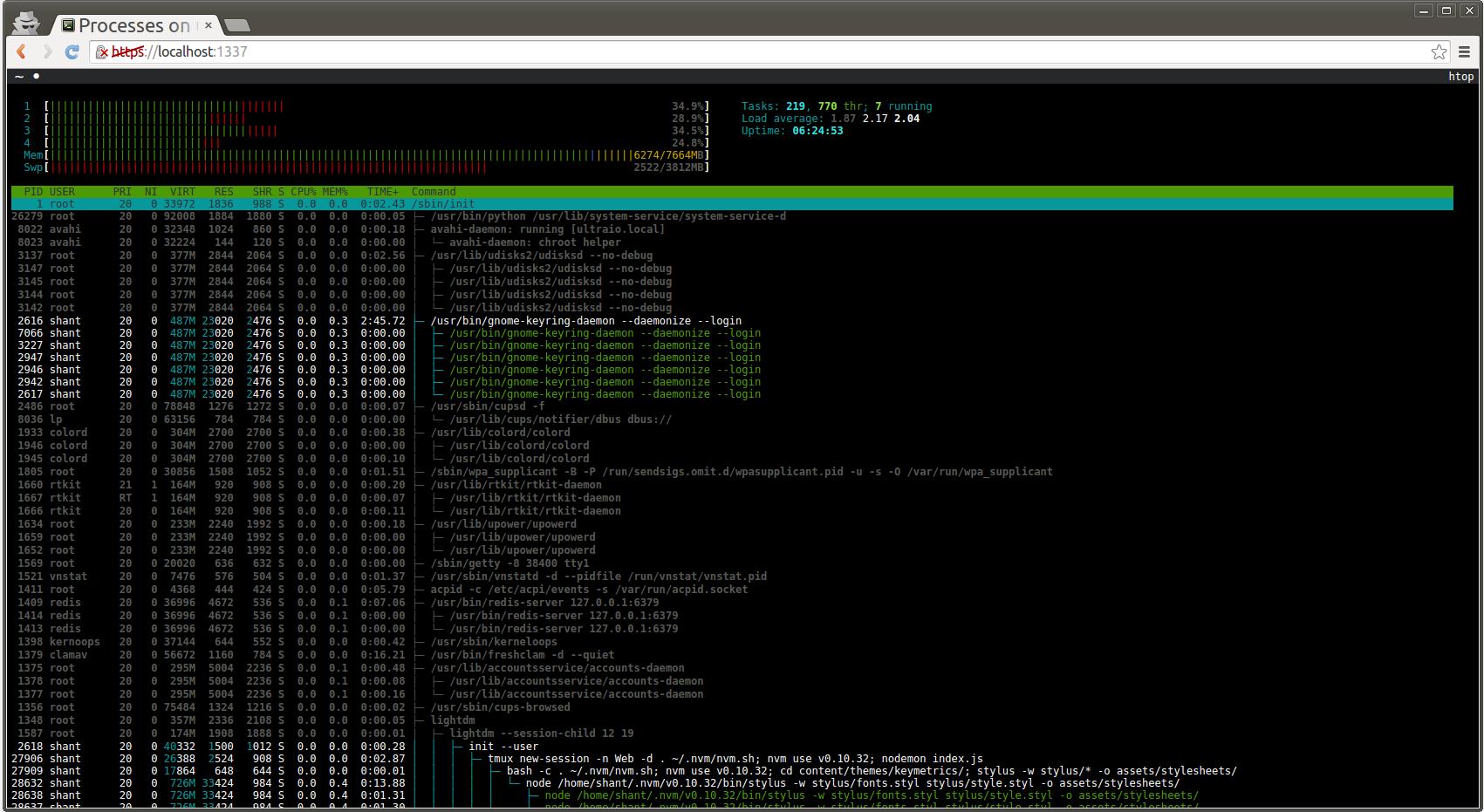 基于浏览器的终端:pm2-webshell