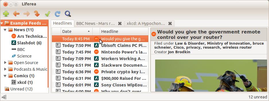Linux桌面的新闻聚合器:Liferea