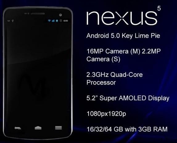 谷歌Nexus 5曝光:配置令对手绝望
