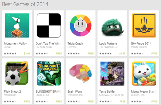 谷歌评出100款年度最佳游戏