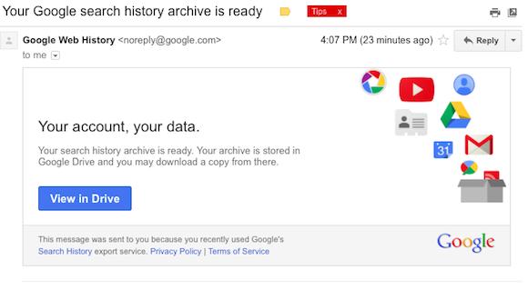 谷歌:允许用户下载自己的搜索记录