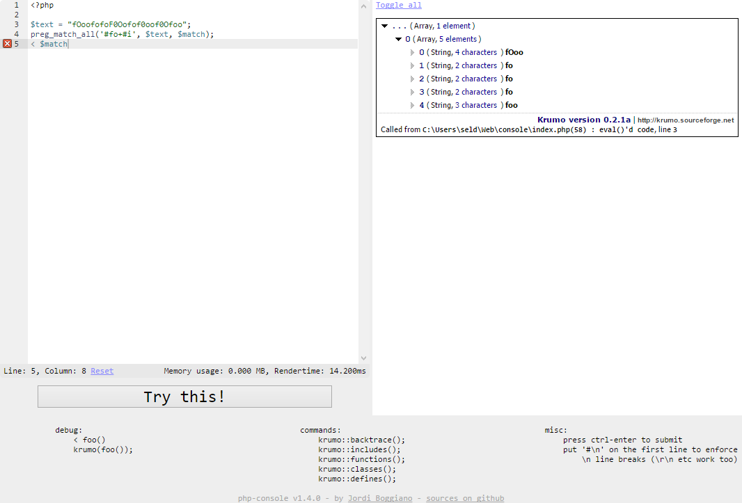PHP 代码 Web 控制台:PHP Console