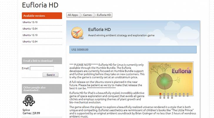 Ubuntu软件中心某游戏标价50000美元