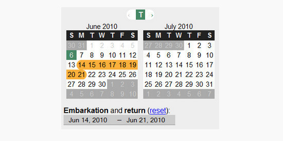 jQuery 日期范围选择:Timeframe