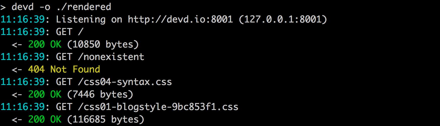 小型独立的 HTTP 服务器:devd