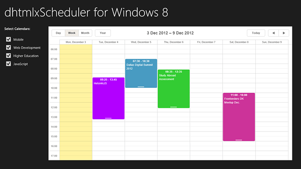 dhtmlxScheduler 3.6 发布,支持Windows 8