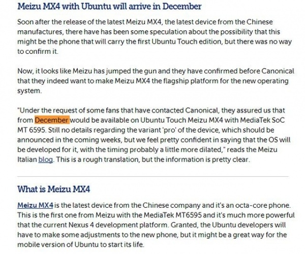 魅族MX4 Ubuntu版将于12月发布