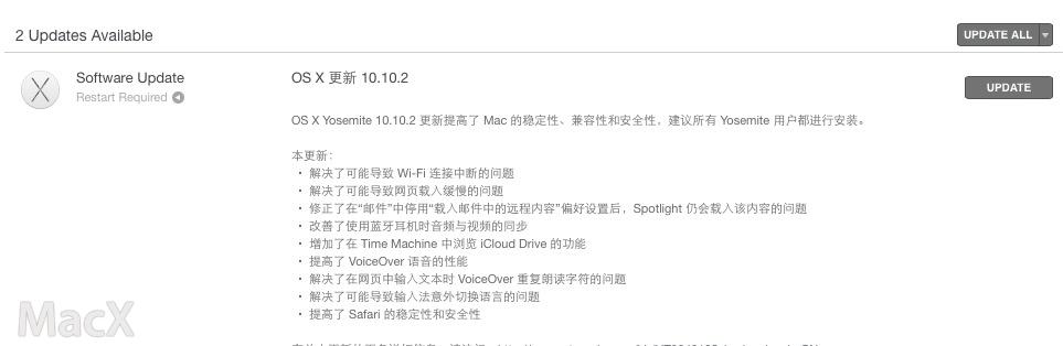 Mac OS X 10.10.2 正式发布,WiFi 修复