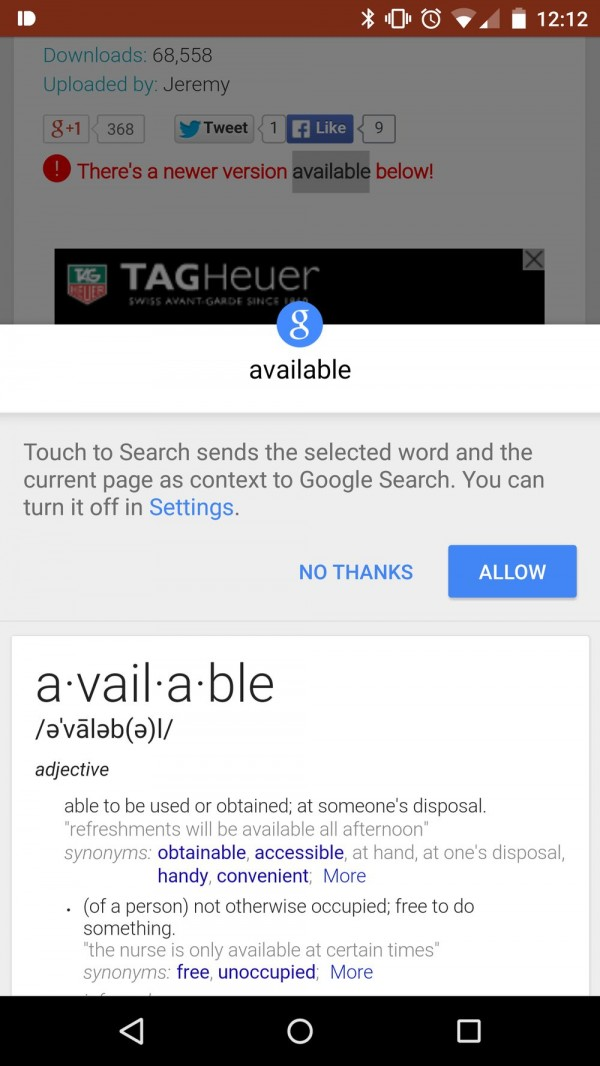 Android端Chrome新增Touch to Search功能