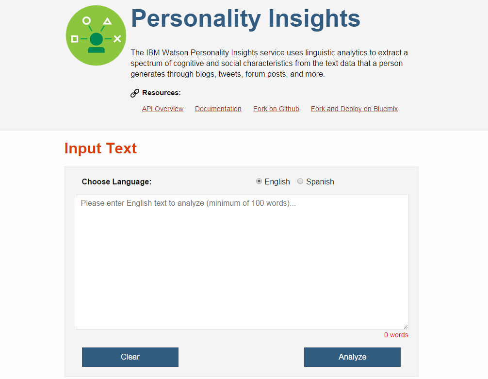 只要输入100个单词,这个网站就会告诉你是什么样的人