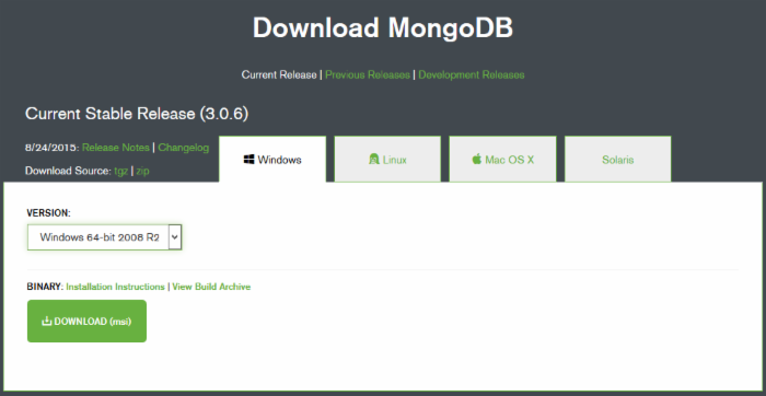 Windows下MongoDB环境搭建