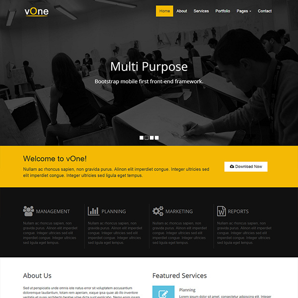 vOne - Free Business HTML5 Responsive Website