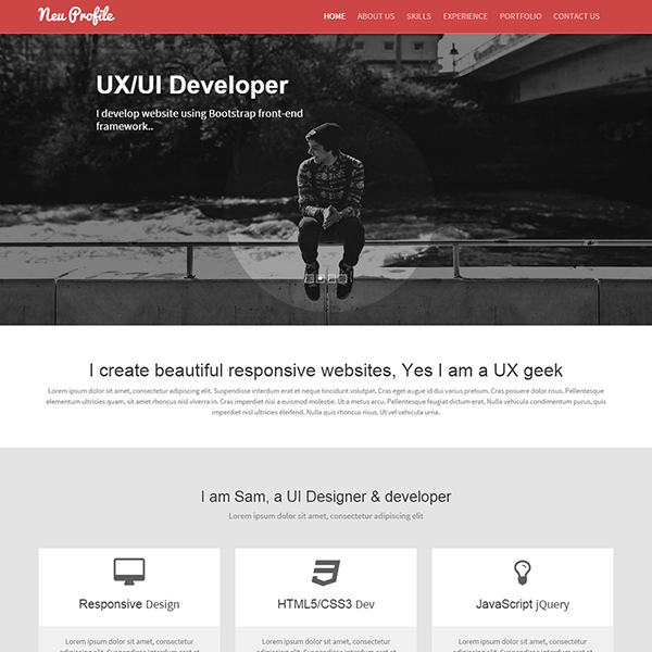 Neu - Web Designer Profile Responsive Web Template