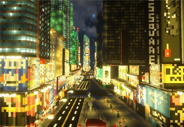 玩家在《我的世界》还原时代广场 逼真再现纽约街头