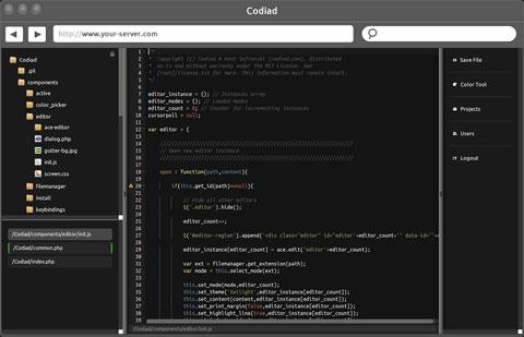 开源并基于Web的IDE用远程写代码 – Codiad