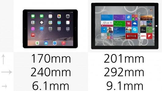 iPad Air 2和Surface Pro 3规格参数对比