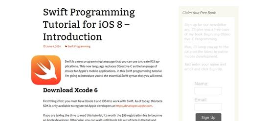 20个学习Swift编程语言资源