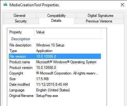 Windows 10 TH2版本1511 MCT工具仍可下载