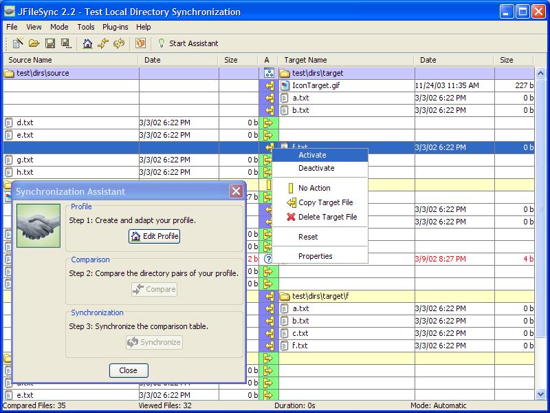 Java实现的目录同步工具:JFileSync