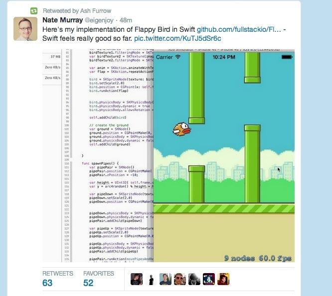 开发者来瞧瞧用Swift写的Flappy Bird