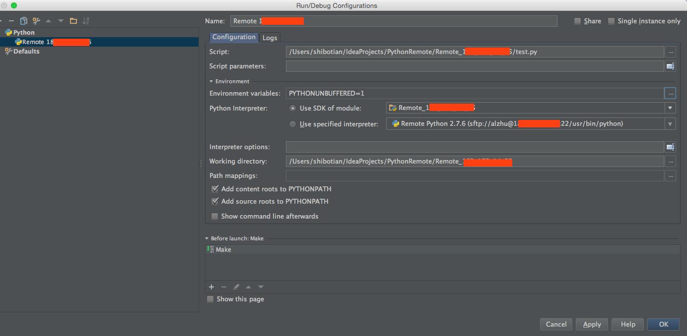 使用IntelliJ IDEA进行Python远程调试