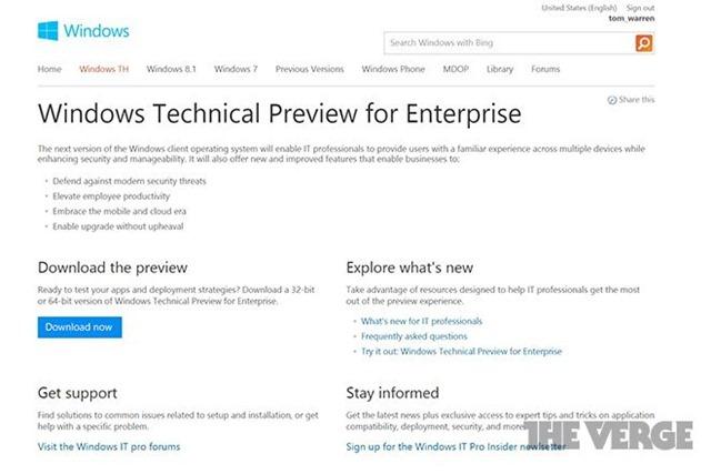 Windows 9技术预览版网站意外上线,暂用 Windows TH 名称