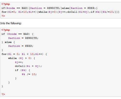 PHP 代码格式化工具 phpCodeBeautifier