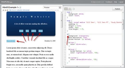 CSS在线编辑和托管 WebPutty