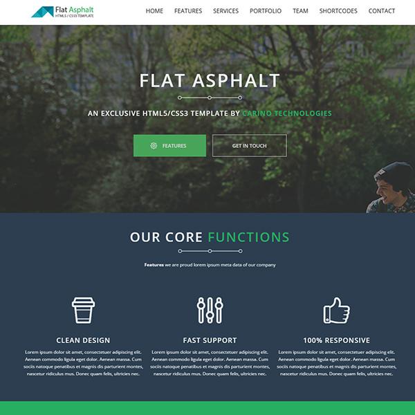 Flat Asphalt – One pager Prallax HTML 5 Template