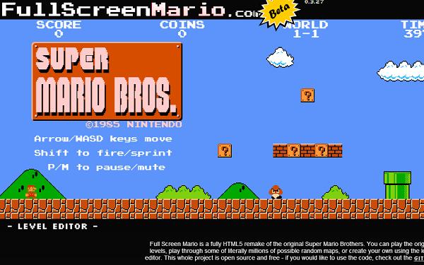 超级马里奥被制成 HTML 5 游戏