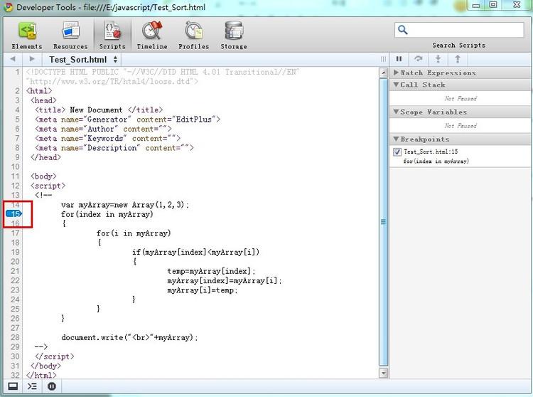 如何使用chrome自带的Javascript调试工具