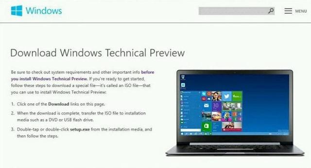 Windows 9 技术预览版安装 ISO 文件约 4GB