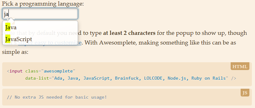 自动补全JS控件:Awesomplete
