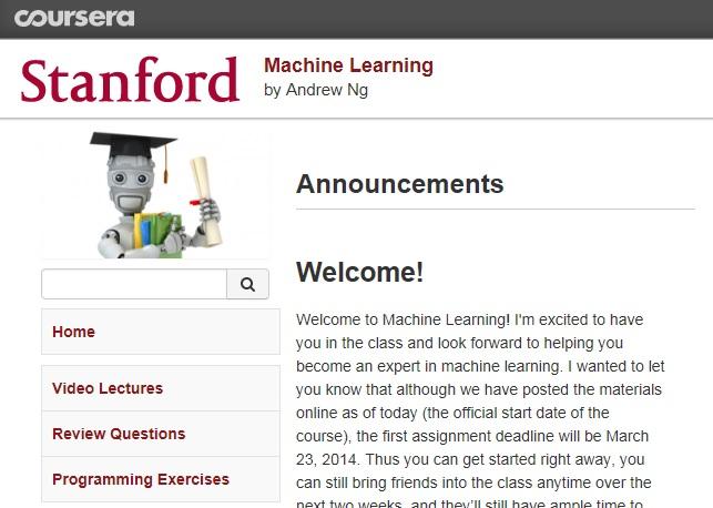 斯坦福的《机器学习》课程开始了