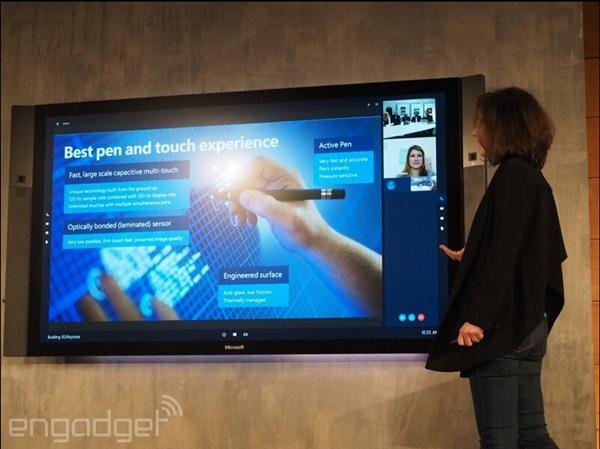 微软的高科技白板:4K 84寸巨型Surface Hub
