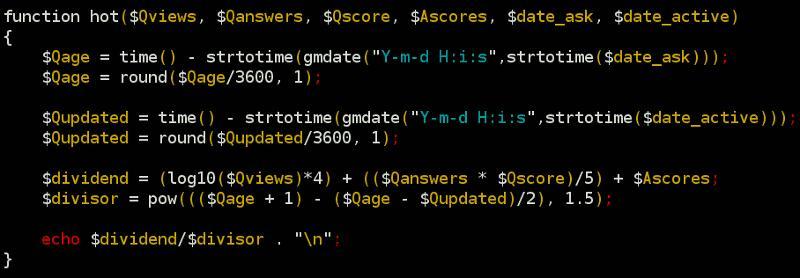 基于用户投票的排名算法(三):Stack Overflow