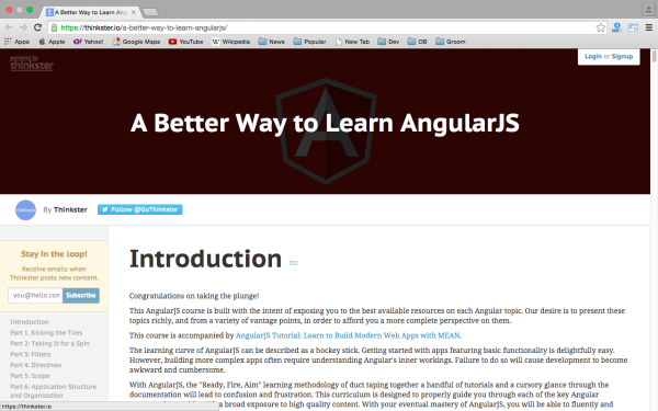 best resources and tutorials to learn AngularJS - thinkster-angularjs