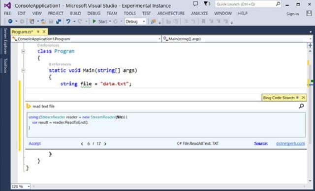 微软为 Visual Studio 推出必应代码搜索扩展