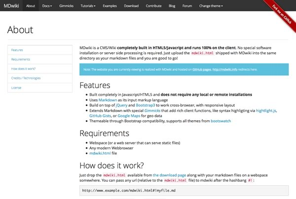MDwiki - 纯Javascript+HTML5实现的CMS/Wiki