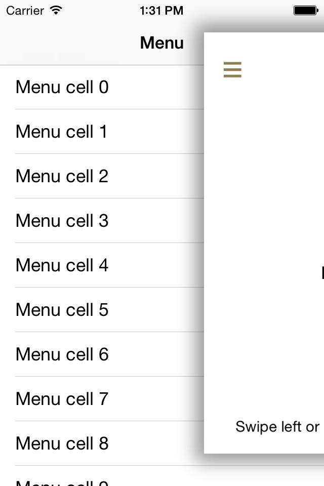 iOS 滑动菜单:PZSideMenuViewController