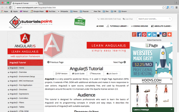 best resources and tutorials to learn AngularJS - tutorial-point