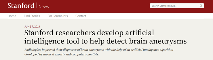 斯坦福大学发布吴恩达团队最新成果:利用 AI 帮助检测脑动脉瘤
