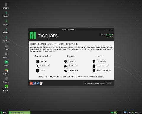 Manjaro Linux 16.06 Pre 1 发布了