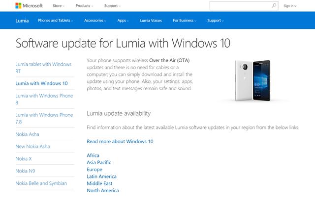 微软已上线Lumia with Windows 10支持页面