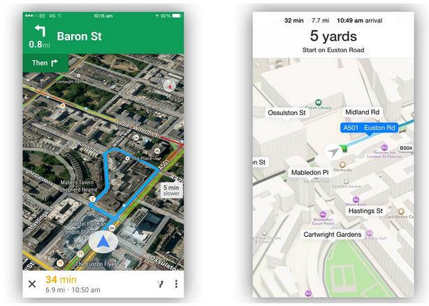 地图服务哪家更强?苹果地图vs谷歌地图