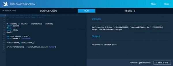 IBM推Swift Sandbox网页工具 可直接编写Swift代码