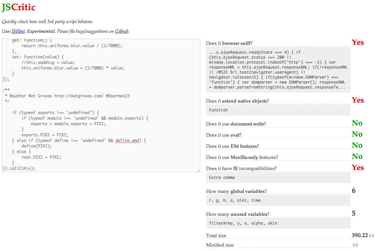 JS代码质量检测工具:JSCritic