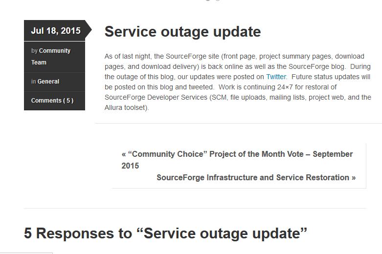 SourceForge 网站服务故障,然而没人关心这个